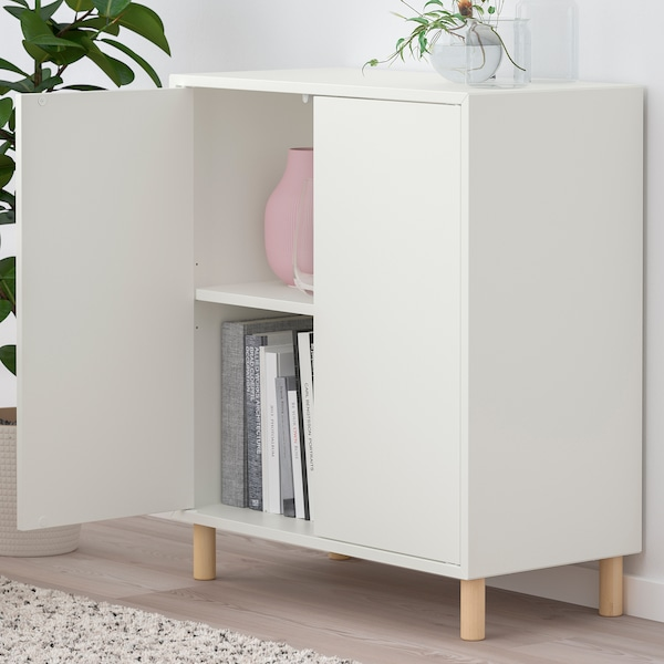 EKET Storage combination with legs, white/wood, 27 1/2x13 3/4x31 1/2 ""