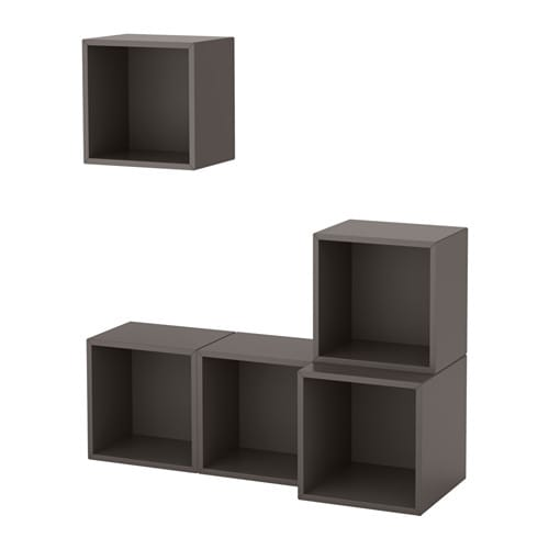 Eket wall mounted cabinet combination dark gray ikea for Cube rangement mural ikea