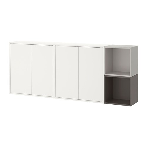 Eket Wall Mounted Cabinet Combination White Dark Gray