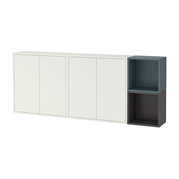 """EKET Wall-mounted cabinet combination, white/dark gray/gray-turquoise, 68 7/8x9 7/8x27 1/2 """""""