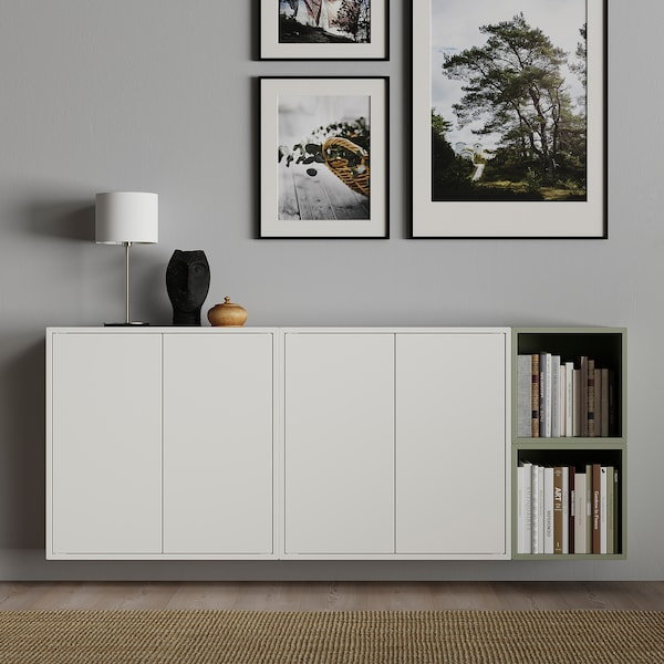 "EKET Wall-mounted cabinet combination, white/light green, 68 7/8x9 7/8x27 1/2 """