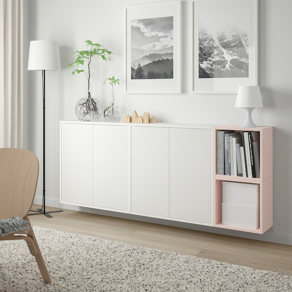 """EKET Wall-mounted cabinet combination, white/pale pink, 68 7/8x9 7/8x27 1/2 """""""