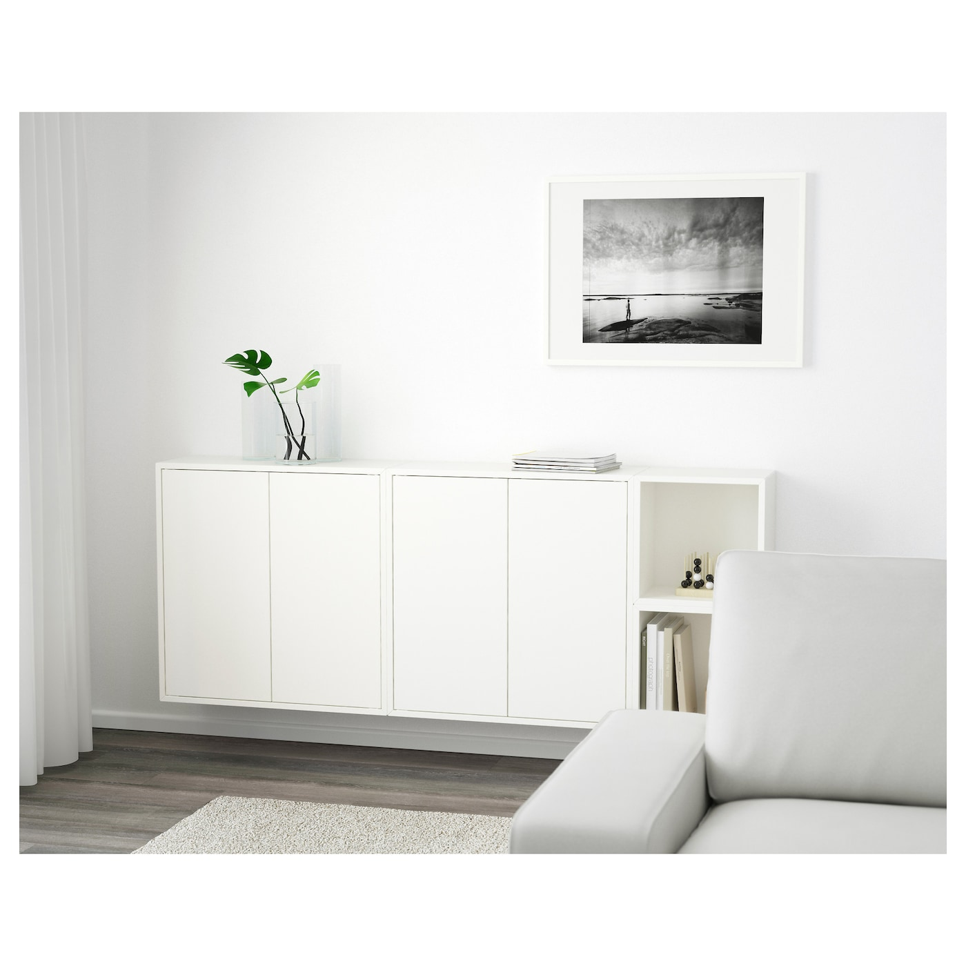 Wall-mounted cabinet combination EKET white