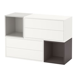EKET wall-mounted cabinet combination, white/light gray, dark gray