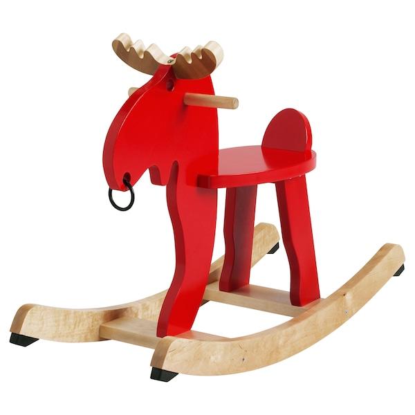 EKORRE Rocking moose, red/rubberwood