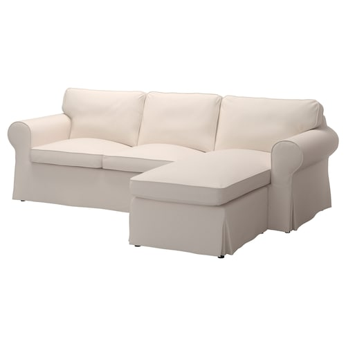 "EKTORP sofa with chaise/Lofallet beige 99 1/4 "" 34 5/8 "" 34 5/8 "" 64 1/8 "" 17 3/4 """