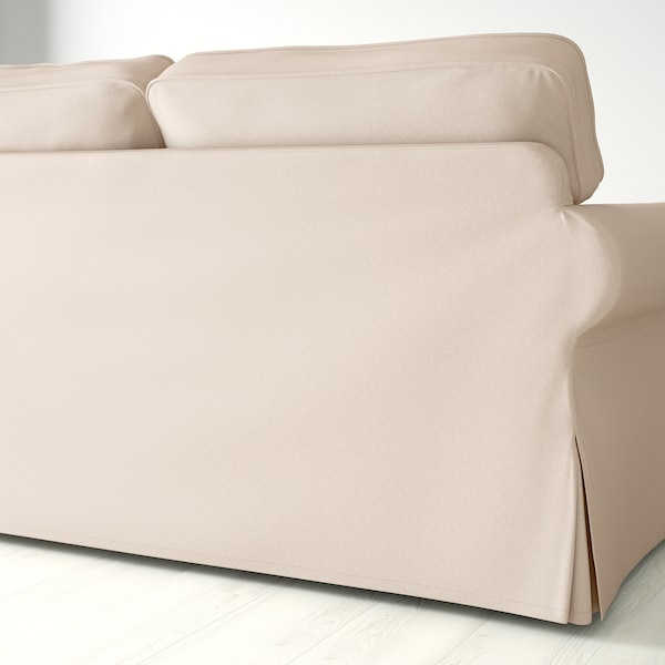 "EKTORP sofa with chaise/Lofallet beige 99 1/4 "" 34 5/8 "" 34 5/8 "" 64 1/8 "" 17 3/4 """