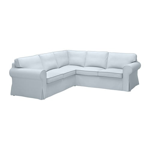 Ektorp corner sofa 2 2 nordvalla light blue ikea for Canape d angle ikea