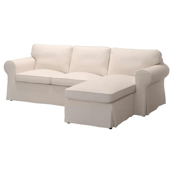 EKTORP cover for sofa with chaise/Lofallet beige