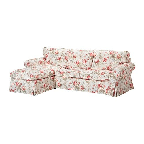 EKTORP Cover for loveseat with chaise, Byvik multicolor