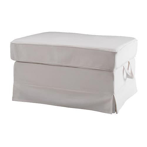 EKTORP Footstool IKEA Easy to keep clean with a removable,machine washable cover.  Storage space under the seat for magazines, toys, etc.