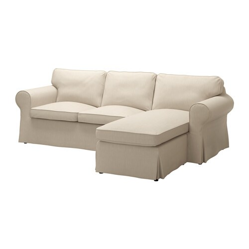 Ektorp loveseat and chaise nordvalla dark beige ikea - Chaise tissu beige ...