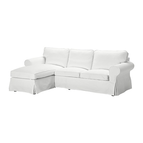 "EKTORP Loveseat and chaise lounge, Blekinge white Width: 99 1/4 "" Min. depth: 34 5/8 "" Max. depth: 64 1/8 "" Height: 34 5/8 "" Seat height: 17 3/4 ""  Width: 252 cm Min. depth: 88 cm Max. depth: 163 cm Height: 88 cm Seat height: 45 cm"