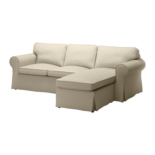 Ektorp loveseat and chaise tygelsj beige ikea for Couch with 2 chaise lounges