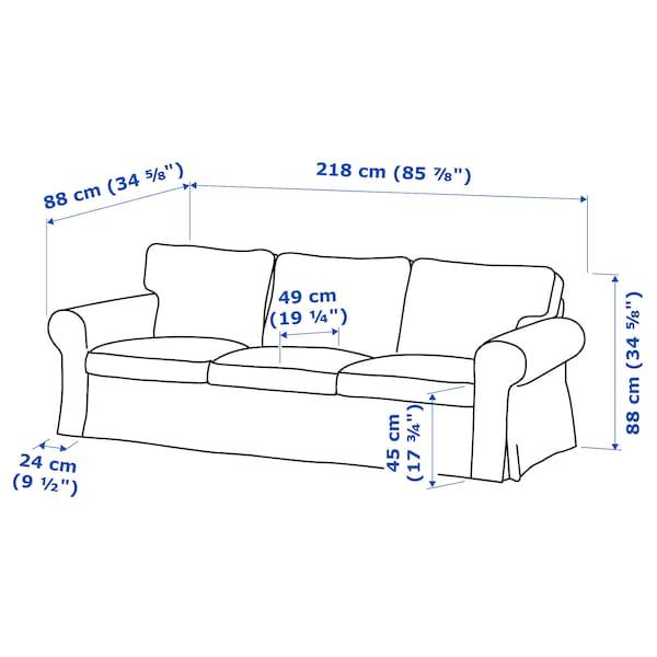 """EKTORP sofa Lofallet beige 85 7/8 """" 34 5/8 """" 34 5/8 """" 19 1/4 """" 17 3/4 """""""