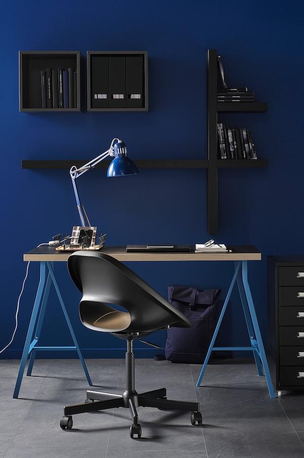 ELDBERGET / MALSKÄR Swivel chair, dark gray/black