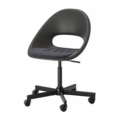 ELDBERGET / MALSKÄR Swivel chair with pad, black/dark gray
