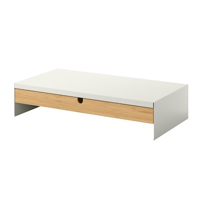 ELLOVEN Monitor stand with drawer, white