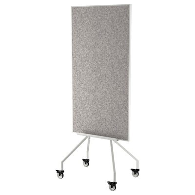 """ELLOVEN Whiteboard/noticeboard with casters, white, 27 1/2x70 7/8 """""""