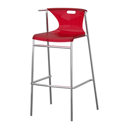 ELMER Bar stool with backrest IKEA A special surface treatment makes the seat extra scratch resistant.  Stackable; saves space when not in use.