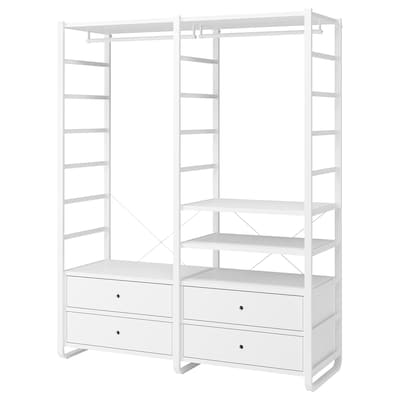 "ELVARLI 2 section shelving unit, white, 64 7/8x21 5/8x85 """