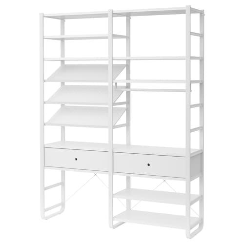"ELVARLI 2 section shelving unit white 64 7/8 "" 15 3/4 "" 85 """