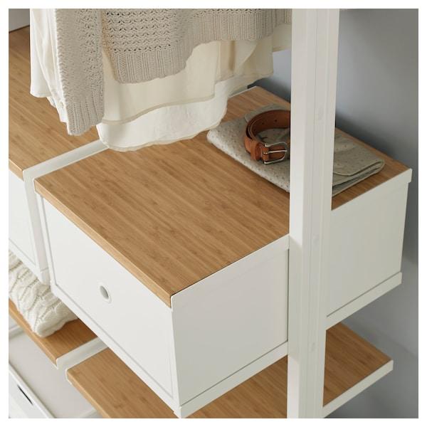 "ELVARLI Wardrobe combination, white/bamboo, 86x20x87 1/4-137 3/4 """