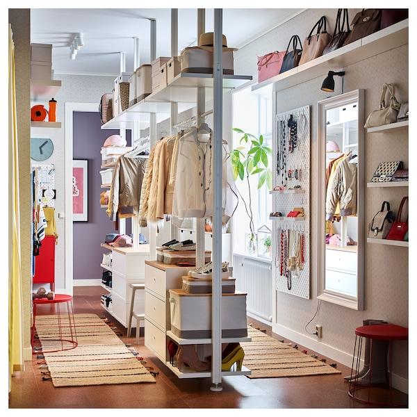 "ELVARLI Wardrobe combination, white/bamboo, 151 5/8x20x87 1/4-137 3/4 """
