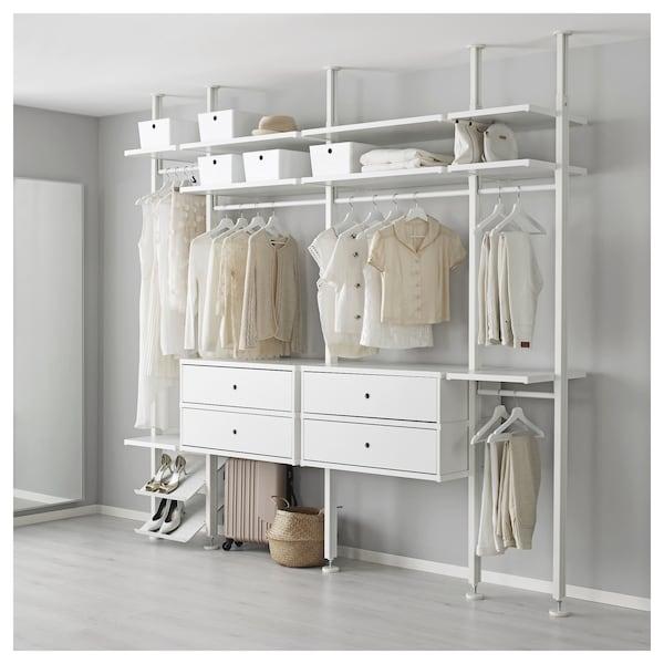 "ELVARLI Wardrobe combination, white, 103 1/8x20x87 1/4-137 3/4 """