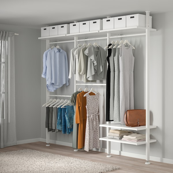 "ELVARLI Wardrobe combination, white, 101 5/8x20x87 1/4-137 3/4 """