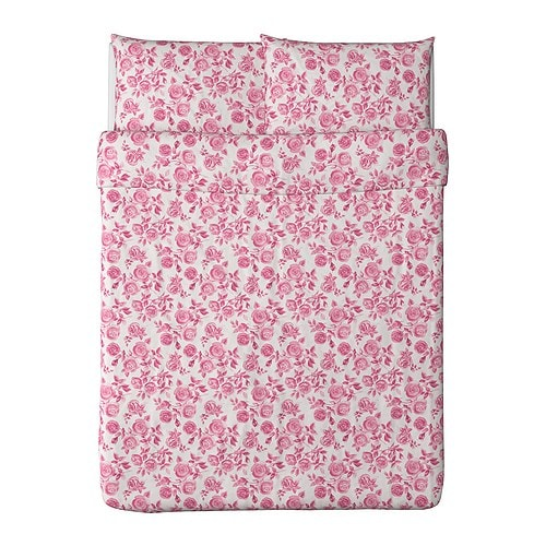 "EMELINA ROS Duvet cover and pillowcase(s) pink Duvet cover length: 86 "" Duvet cover width: 86 "" Pillowcase length: 20 "" Pillowcase width: 30 ""  Duvet cover length: 218 cm Duvet cover width: 218 cm Pillowcase length: 51 cm Pillowcase width: 76 cm"