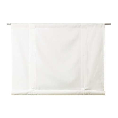 EMMIE Roll-up blind IKEA The slot heading allows you to hang the roll-up blind directly on a curtain rod.  With buttonholes and strings.