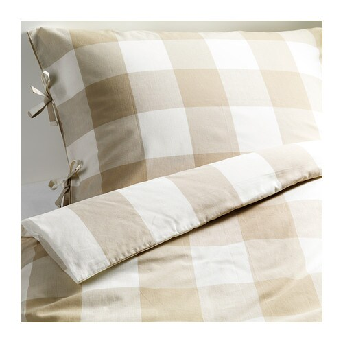 Sale alerts for Ikea EMMIE RUTA Duvet cover and pillowcase(s), beige, white - Covvet
