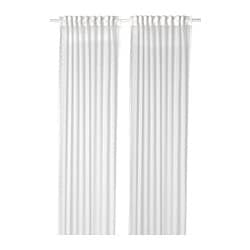 EMMYLINA sheer curtains, 1 pair, white, flowers