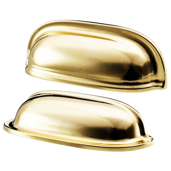 """ENERYDA Cup cabinet pull, brass color, 3 1/2 """""""
