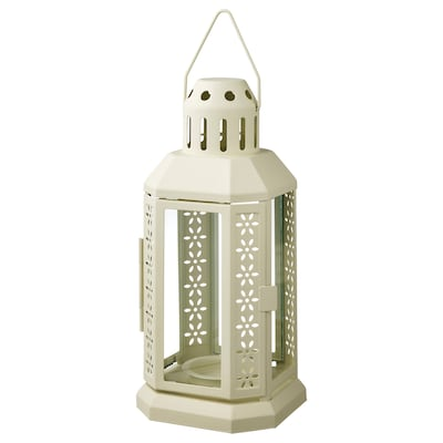 ENRUM Lantern f/tealight, indoor/outdoor, beige, 8 ¾ ""