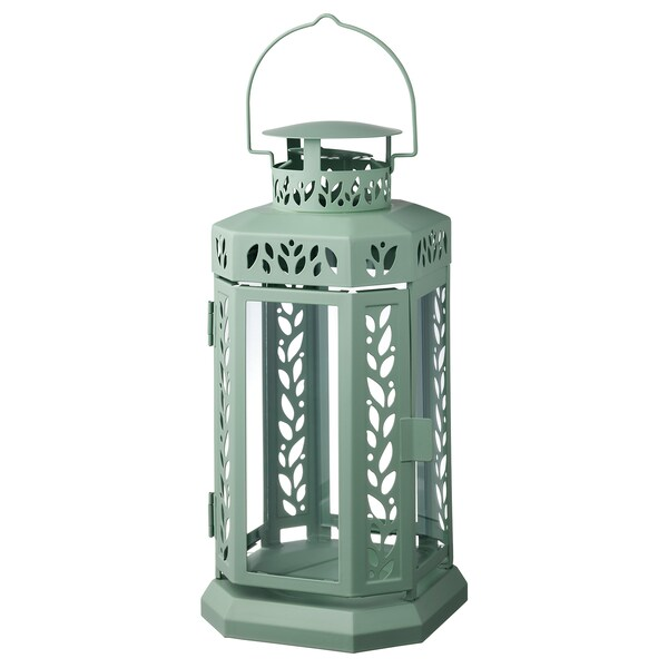 """ENRUM Lantern for candle, indoor/outdoor, green, 11 """""""