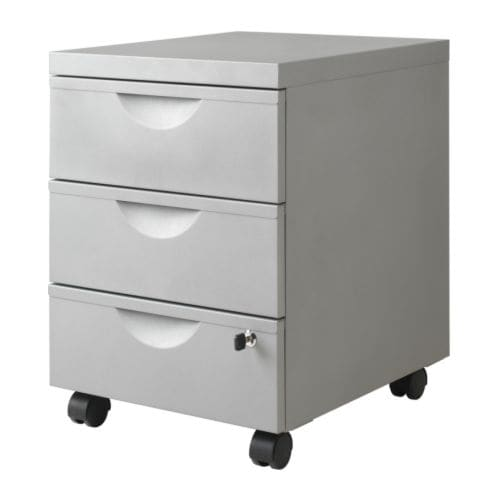 ERIK Drawer unit w 3 drawers on casters IKEA Lockable for safe storage of your private things.  The casters make it easy to move it around.