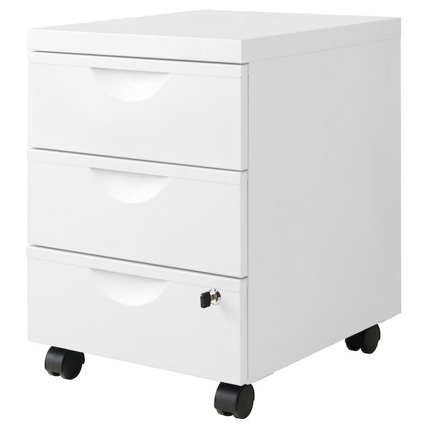 "ERIK Drawer unit w 3 drawers on casters, white, 16 1/8x22 1/2 """