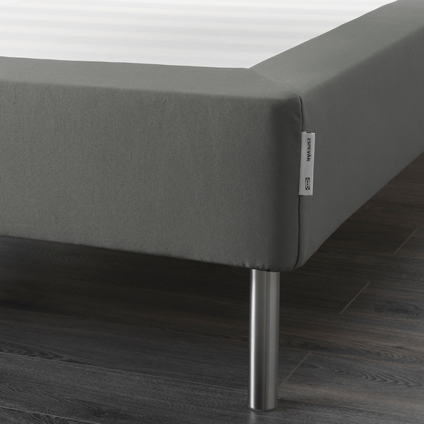 ESPEVÄR Slatted mattress base with legs, dark gray, Queen