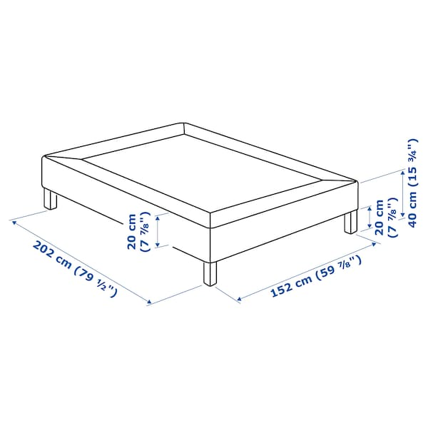 ESPEVÄR Slatted mattress base with legs, white, Queen