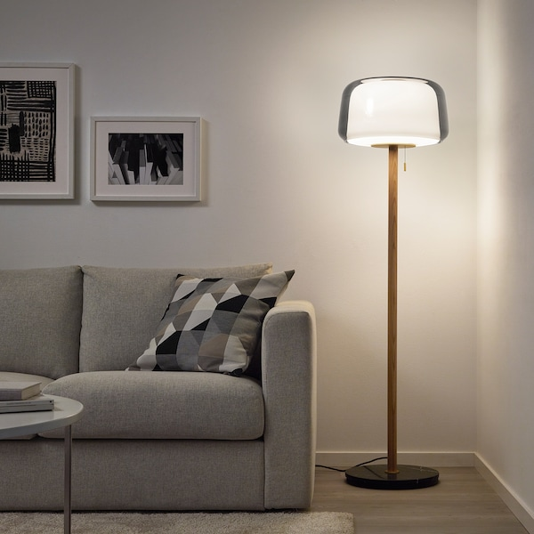 EVEDAL Floor lamp with LED bulb, marble/gray