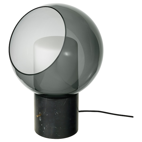 EVEDAL Table lamp, marble/gray globe