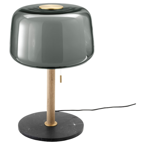EVEDAL Table lamp with LED bulb, marble/gray