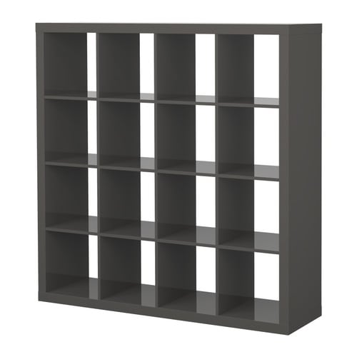 EXPEDIT Shelving unit IKEA The high gloss surfaces reflect light and give a vibrant look.  Finished on all sides.   Can also be used as a room divider.