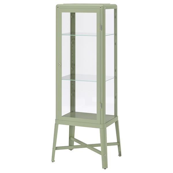 "FABRIKÖR Glass-door cabinet, pale gray-green, 22 1/2x59 """