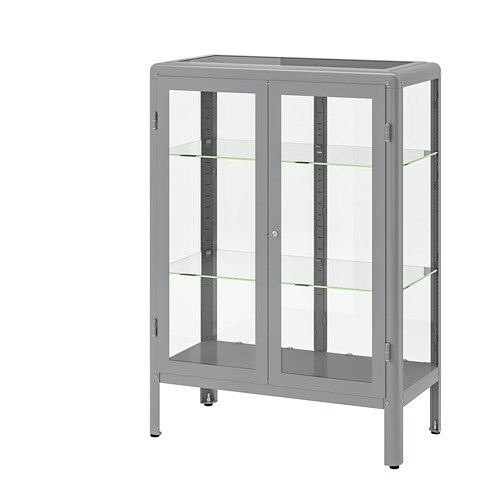 Fabrikör Glass Door Cabinet Gray Ikea