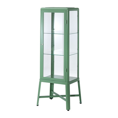 Fabrik r glass door cabinet light green ikea for Meuble vitrine ikea