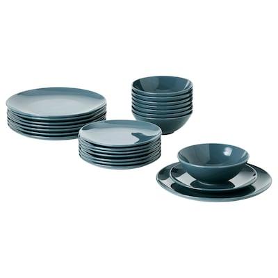 FÄRGKLAR 24-piece dinnerware set, glossy dark turquoise