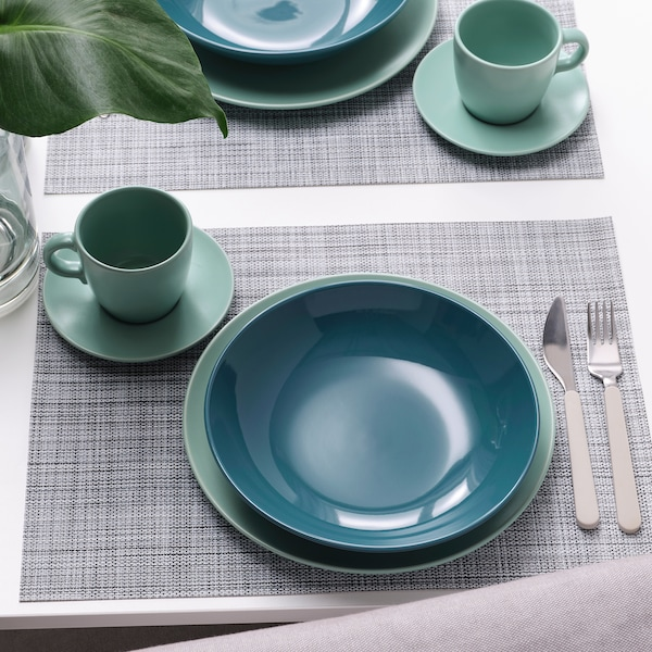 "FÄRGKLAR Deep plate/bowl, glossy dark turquoise, 9 """